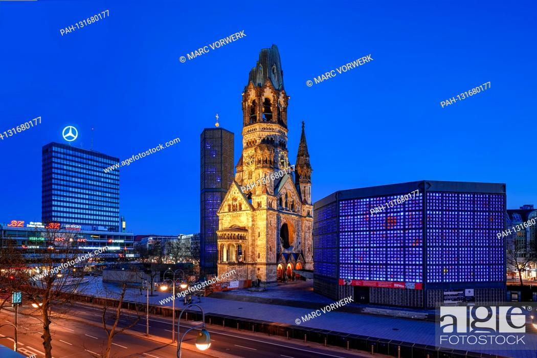 Stock Photo: April 11, 2020, Berlin, The Kaiser Wilhelm Memorial Church on Breitscheidplatz / Kurfurstendamm in Berlin Charlottenburg.