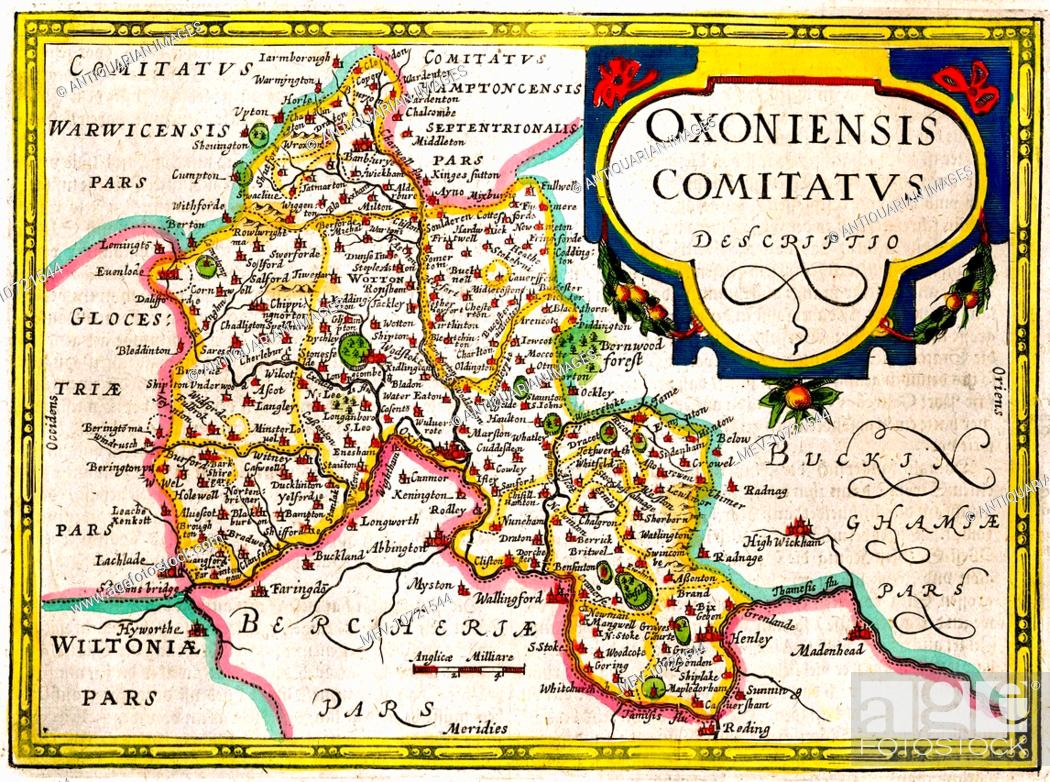 17th Century Map Of Oxford And Oxfordshire England Stock Photo
