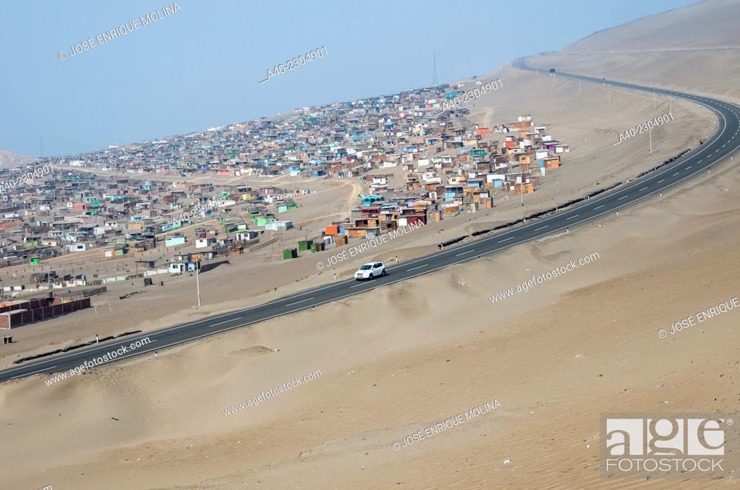 Stock Photo: Shanty town in Ancón city.Lima.Perú.