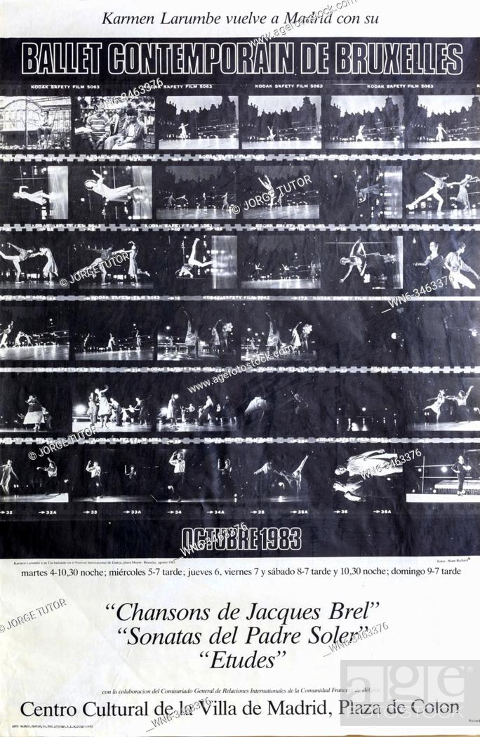 Imagen: Ballet Contemporain de Bruxelles with Karmen Larumbe, Madrid 1983, Poster.