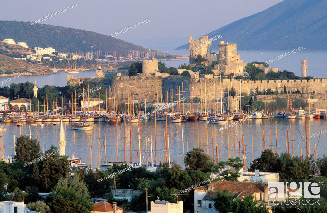 Stock Photo: Sailing ships and the Castle of St. Peter. Bodrum. Turkey.