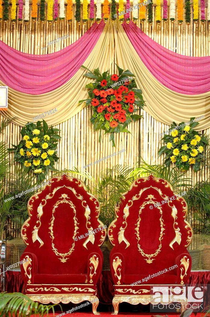 Decoration using flowers cloth and bamboo for wedding reception in stock photo decoration using flowers cloth and bamboo for wedding reception in indian hindu maharashtrian wedding ceremony india junglespirit Choice Image