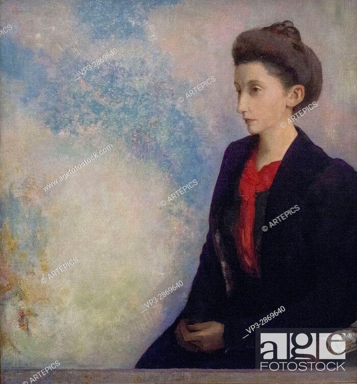 Stock Photo: Odilon Redon - Portrait de la Baronne Robert de Domecy - 1900 - Orsay Museum - Paris.