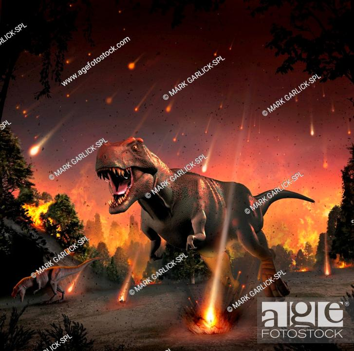 Stock Photo: Artwork of tyrannosaurs fleeing a hail of impact ejecta. Some 65 million years ago, the impact of an asteroid or comet with the Earth provoked one of.