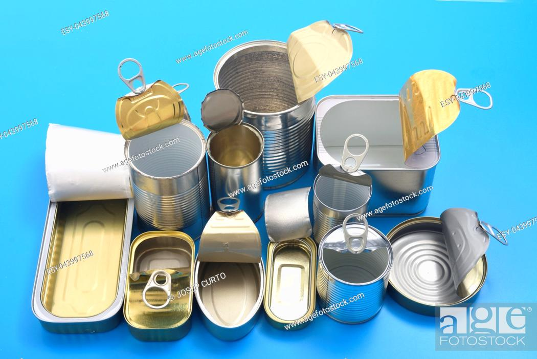 Stock Photo: view of tin can isolated on blue.
