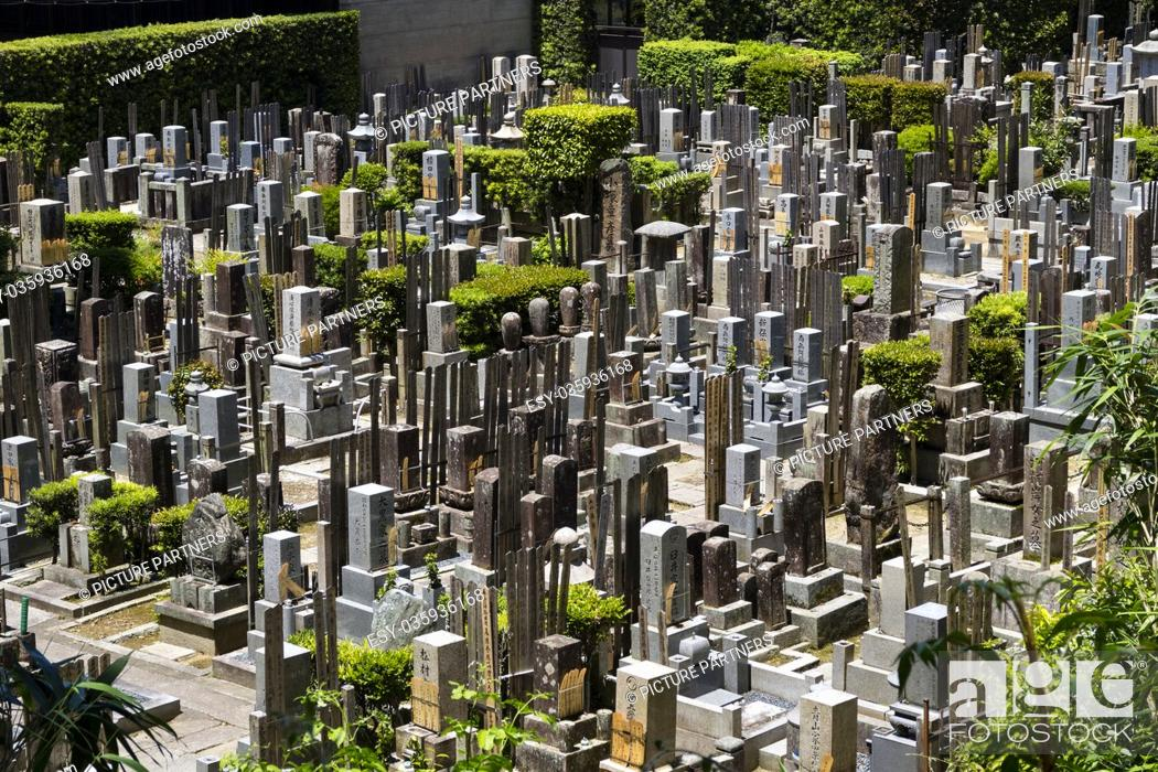 Photo de stock: Kyoto, Japan, Old graves and headstones of the deceased at a Buddhist cemetery behind Chion-In temple in ancient Kyoto, Japan.