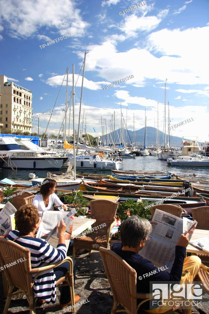 Stock Photo: Italy, Campania, Naples, cafe in harbour.