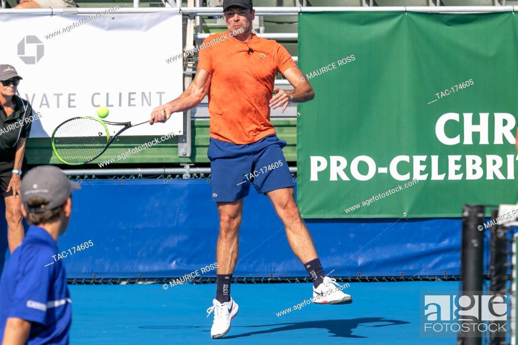 Stock Photo: Scott Foley playing in the Chris Evert Pro-Celebrity Tennis Tournament November 23 2019 at the Delray Beach Tennis Center, Delray Beach Florida.