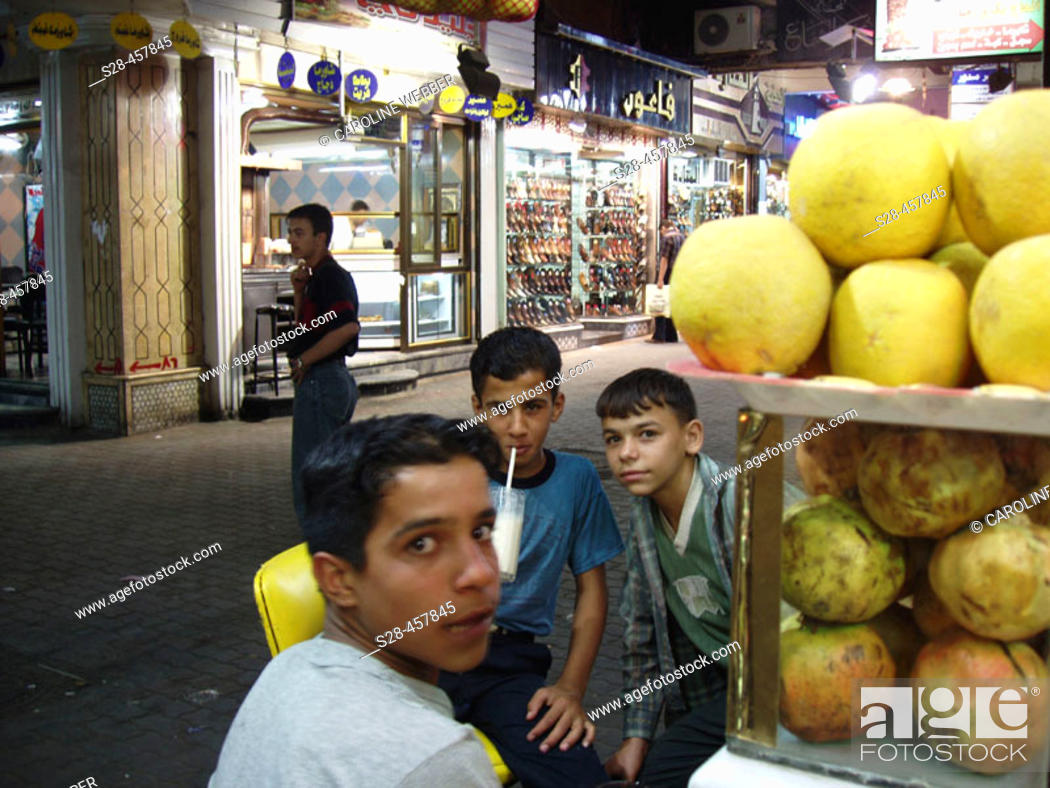Stock Photo: Boys at Aleppo juice bar, Syria.