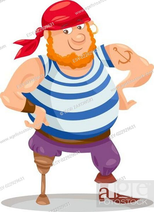 Stock Vector: funny pirate cartoon illustration.