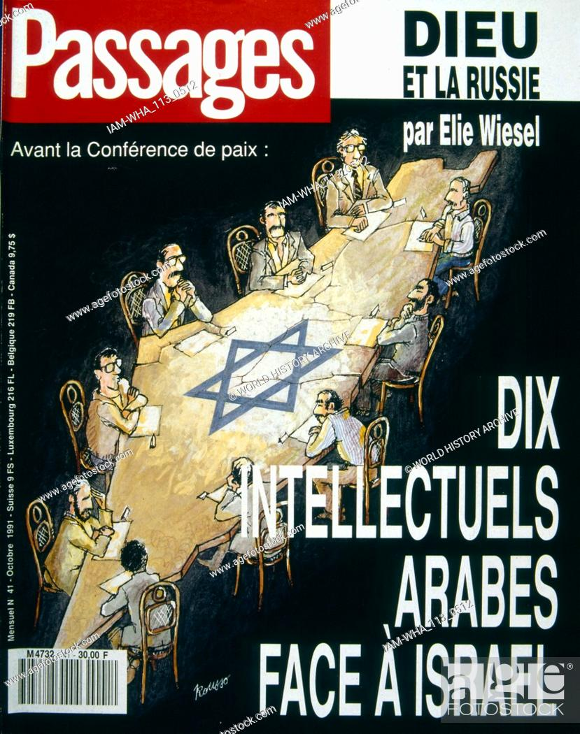 Stock Photo: French publication 'Passages' reporting on the Madrid Conference; a peace conference, held from 30 October to 1 November 1991 in Madrid.
