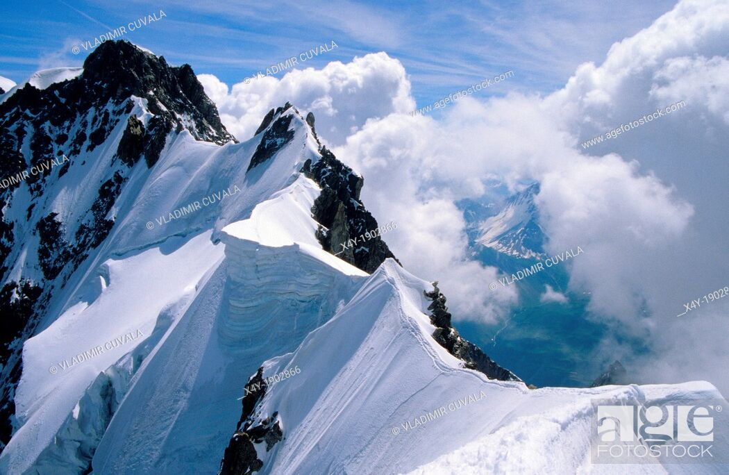 Stock Photo: The Rochefort ridge, Mont Blanc mountain massif, Savoy Alps, France.