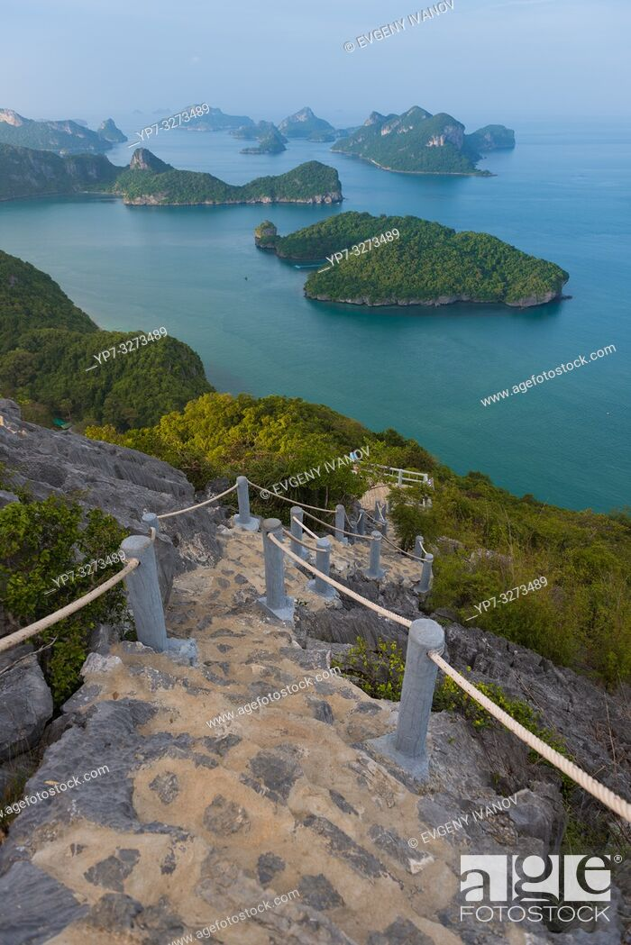 Stock Photo: Hiking natural trail on top of Ko Wua Talap, one of Ang Thong national marine park islands, Thailand.