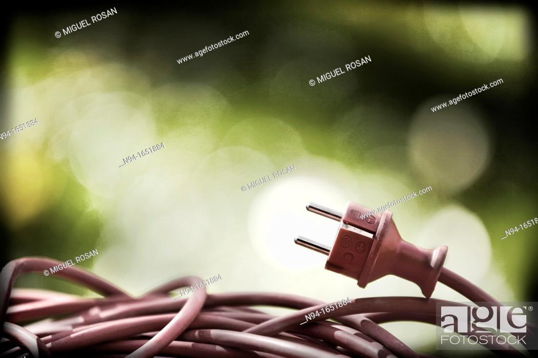 Stock Photo: Power cord and plug.