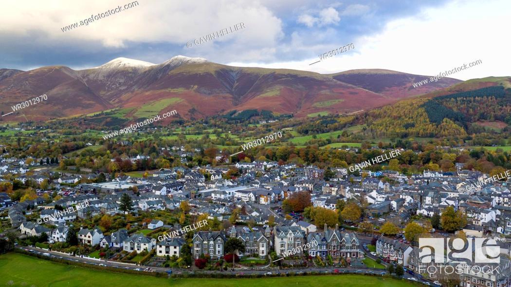 Stock Photo: Keswick and Skiddaw beyond, Lake District National Park, UNESCO World Heritage Site, Cumbria, England, United Kingdom, Europe.