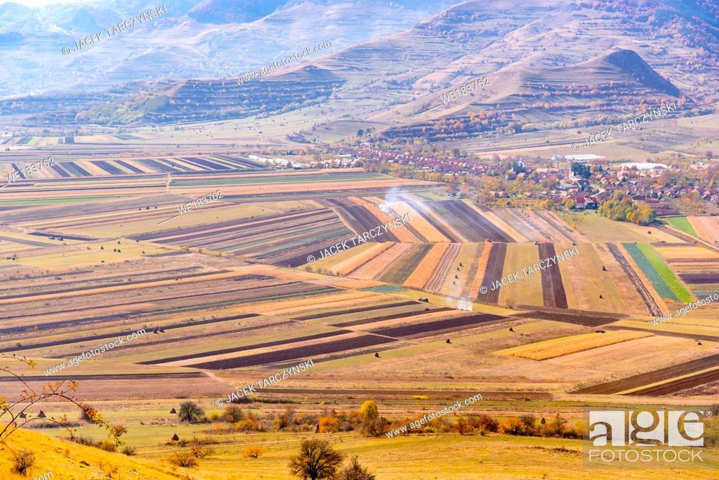 Photo de stock: fields aerial landscape at summer.