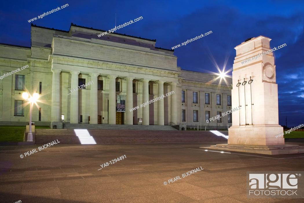 Stock Photo: Auckland City North Island New Zealand  Neo-classical style National Museum World War I memorial building exterior and cenotaph Court of Honour floodlit at.