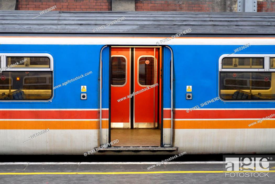 Stock Photo: Train exterior, UK, London.