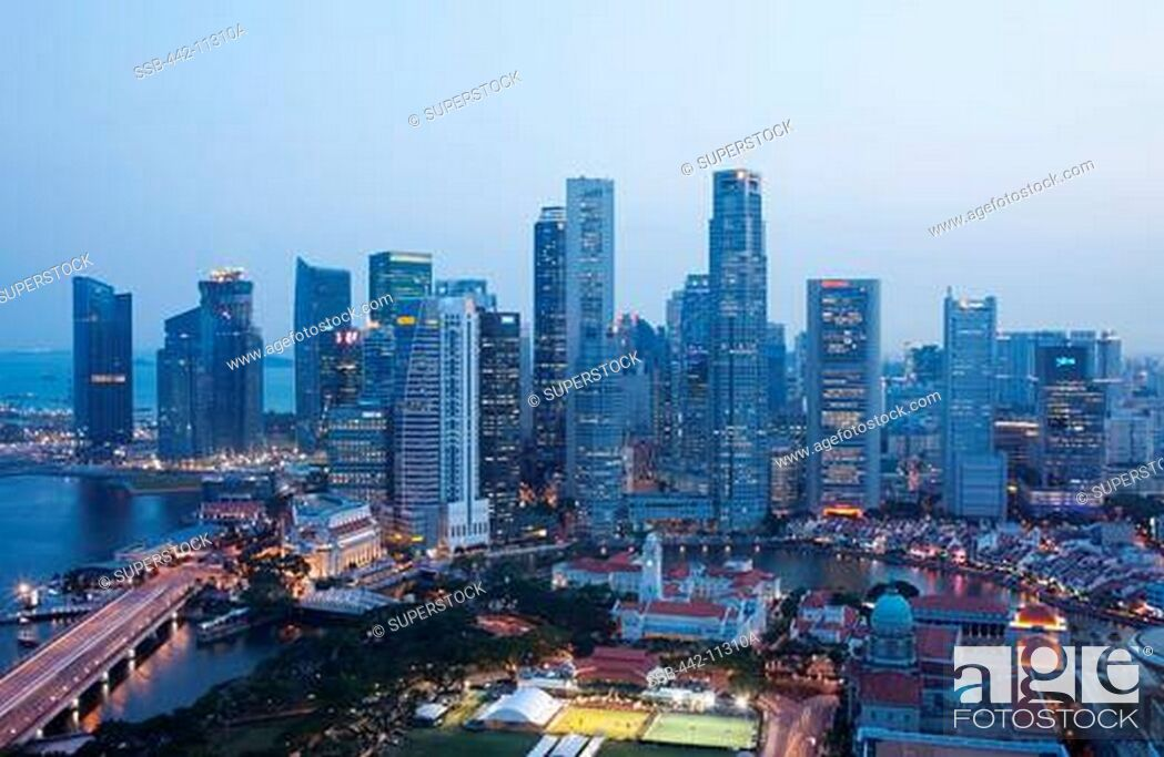 Stock Photo: High angle view of a cityscape, Singapore City, Singapore.