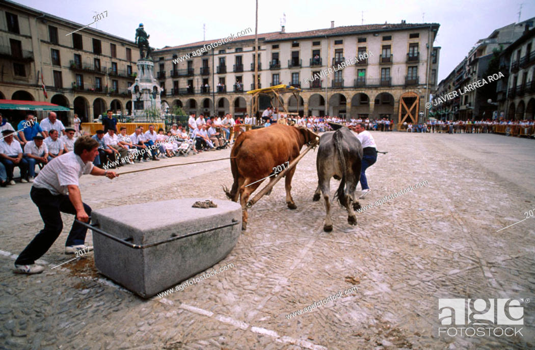 Stock Photo: Arrastre de piedra. Zumárraga. Guipúzcoa. Spain.