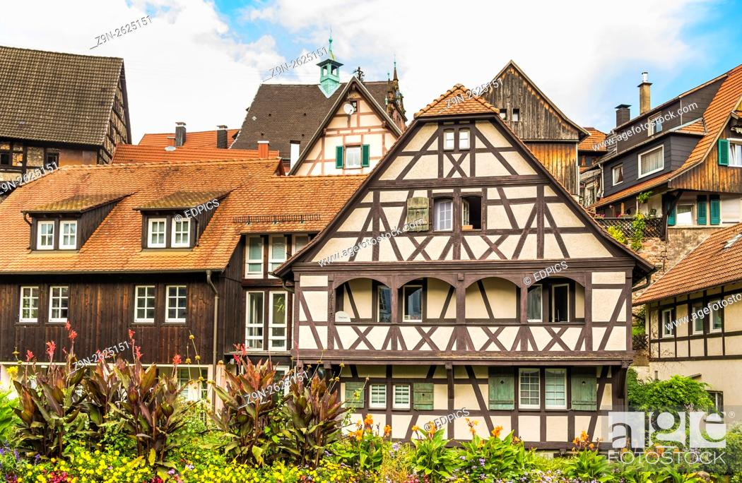 Stock Photo: half-timbered houses, historic city center, gernsbach, black forest, baden-wuerttemberg, germany.