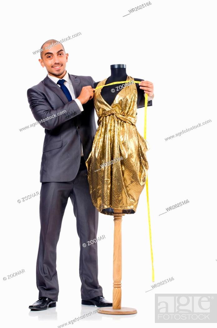 Stock Photo: Tailor isolated on the white background.