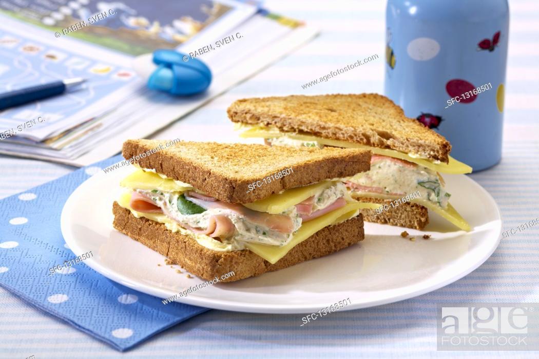 Stock Photo: Toasted ham, quark and cheese toasties.