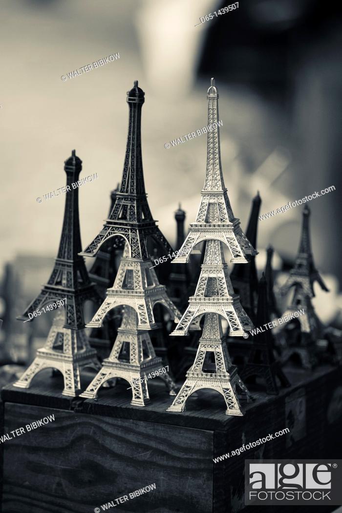 Stock Photo: France, Paris, Left Bank, souvenir Eiffel Towers.