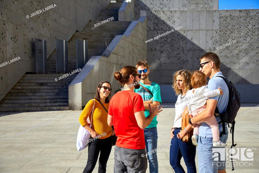 Imagen: Group of tourists and guide making a tour of the city, San Telmo Museum, Plaza Zuloaga, Donostia, San Sebastian, Gipuzkoa, Basque Country, Spain, Europe.
