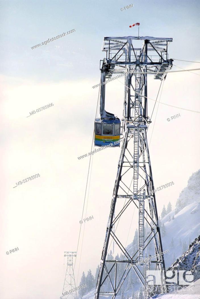 Stock Photo: Germany, Bavaria, Oberstdorf,  Fog horn track   OberAllgaeu, Allgaeuer Alps, fog horn 2224 m, fogs, snow, transportations, passenger transportation.