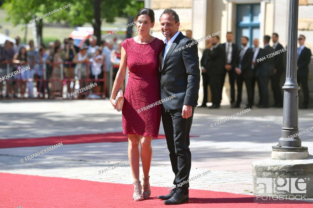 Stock Photo: Thorsten GLAUBER (Free Waheler) with girlfriend Sabine Sendner. Opening of the Bayreuth Richard Wagner Festival 2019. Red carpet on 25.07.2019.