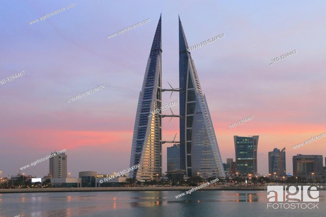 Stock Photo: Bahrain World Trade Center at Sunset, Manama, Bahrain.