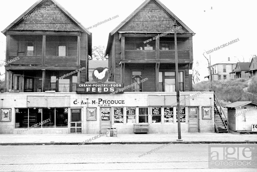 Stock Photo: Grocery Store, South Omaha, Nebraska, USA, John Vachon, Farm Security Administration, November 1938.