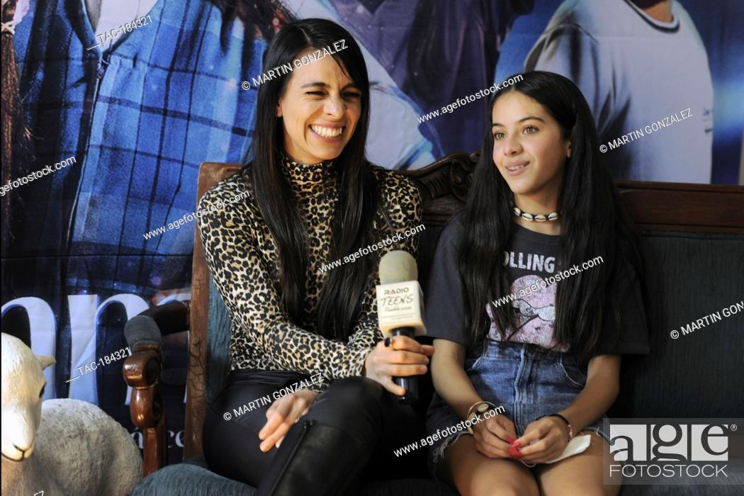 Stock Photo: MEXICO CITY, MEXICO ñ DECEMBER 15: (L-R) Actresses Astrid Romo and Cassandra Iturralde speak during Emma film press conference at La Casa del Cine Mx.