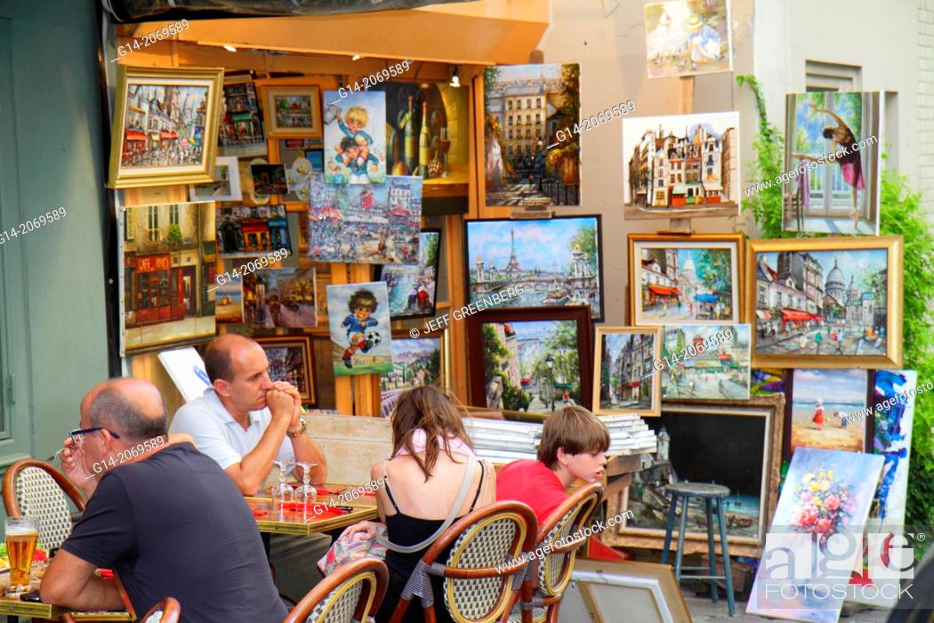 Stock Photo: France, Europe, French, Paris, 18th arrondissement, Montmatre, Place du Tertre, restaurant, cafe, brasserie, tables, chairs, customers, alfresco, art gallery.