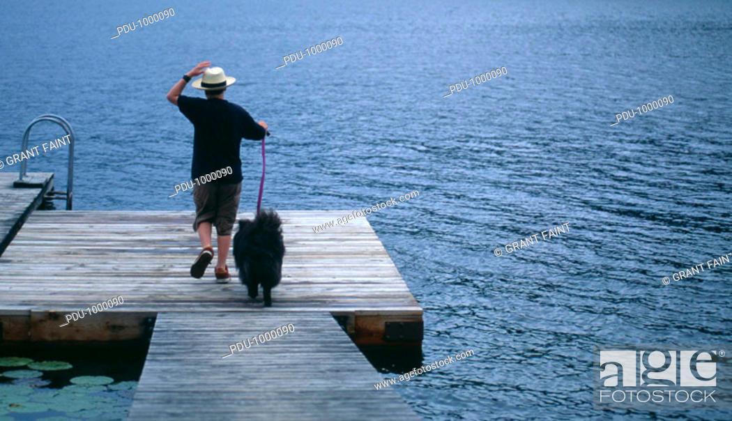 Stock Photo: Boy (11-13) walking dog on dock, rear view, summer.