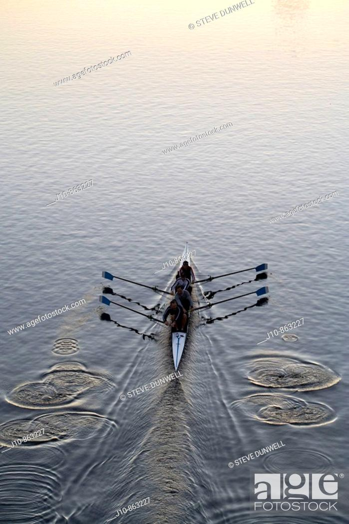 Stock Photo: Charles River rowing (4 sweep oars) at sunrise, Boston, Massachusetts, USA.