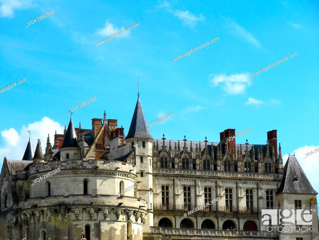 Stock Photo: Europe, France, Loire Valley, Loire, Amboise, Amboise Castle, Chateau d' Amboise, Castle, Castles, Loire River, River, Fishing, UNESCO. .
