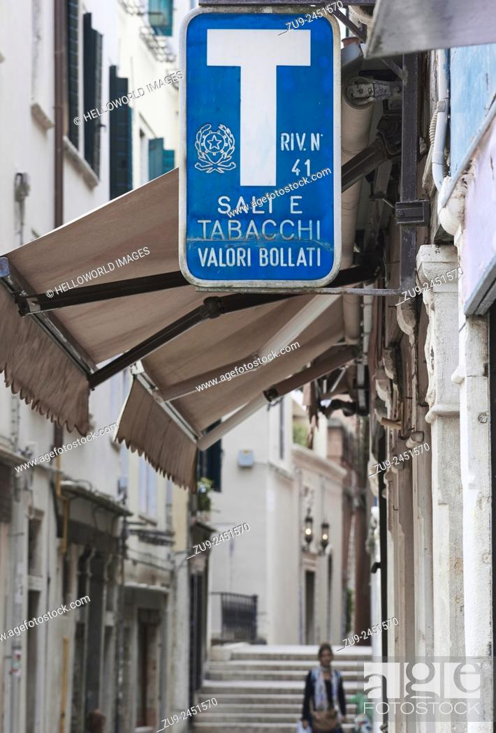 Stock Photo: Sign above a Tabaccheria in Venice, Veneto, Italy, Europe.