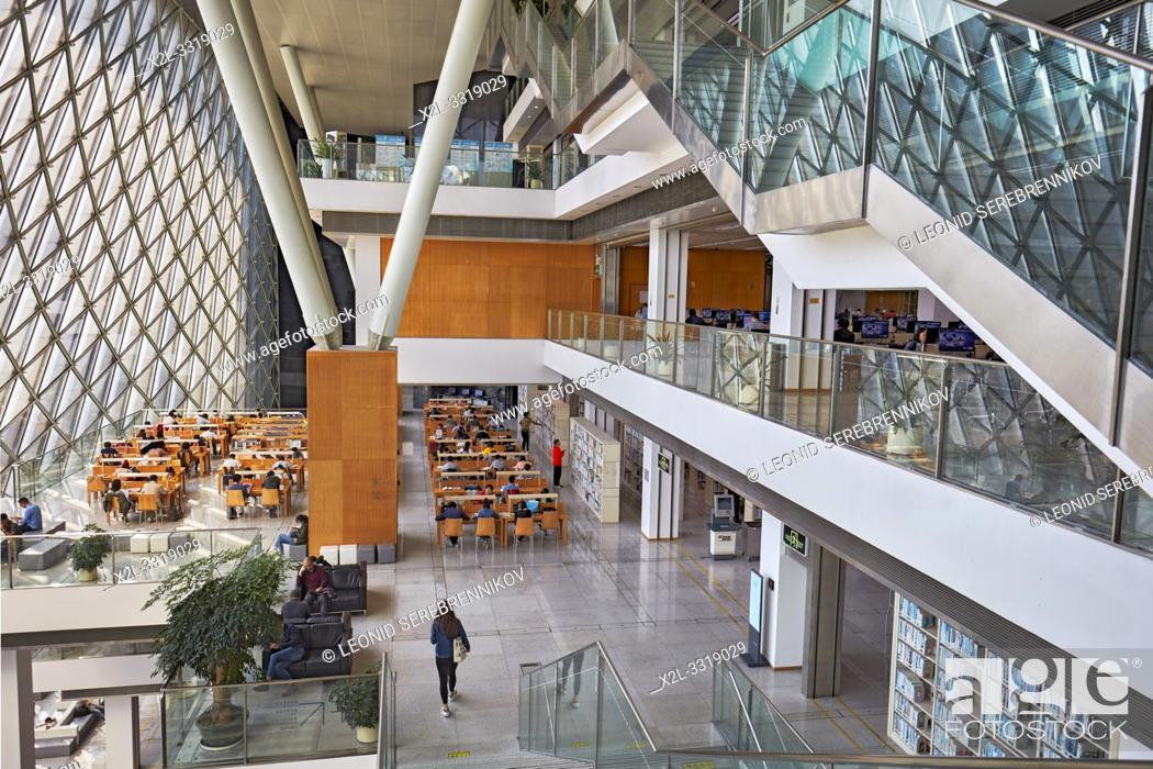 Stock Photo: Interior of Shenzhen Library at Shenzhen Cultural Center. Shenzhen, Guangdong Province, China.