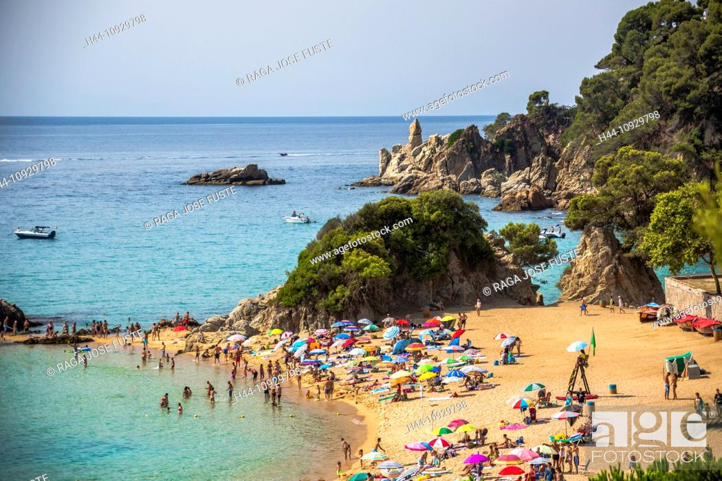 Stock Photo Spain Europe Catalonia Costa Brava Coast Lloret De Mar Town Santa Cristina Beach Loret Blue Bright