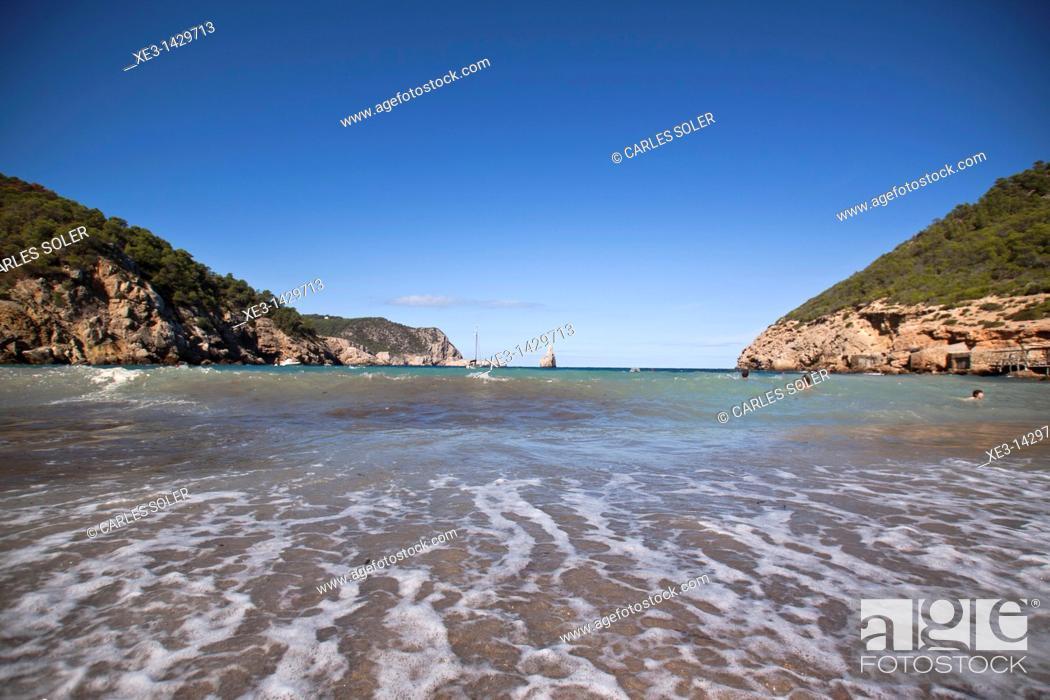 Stock Photo: Beach day at Cala Benirràs, Ibiza, Spain.