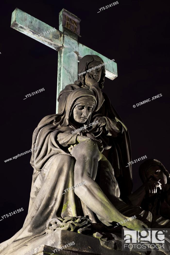 Stock Photo: The Statue of The Lamentation of Christ on Charles Bridge, Prague, Czech Republic, Europe.