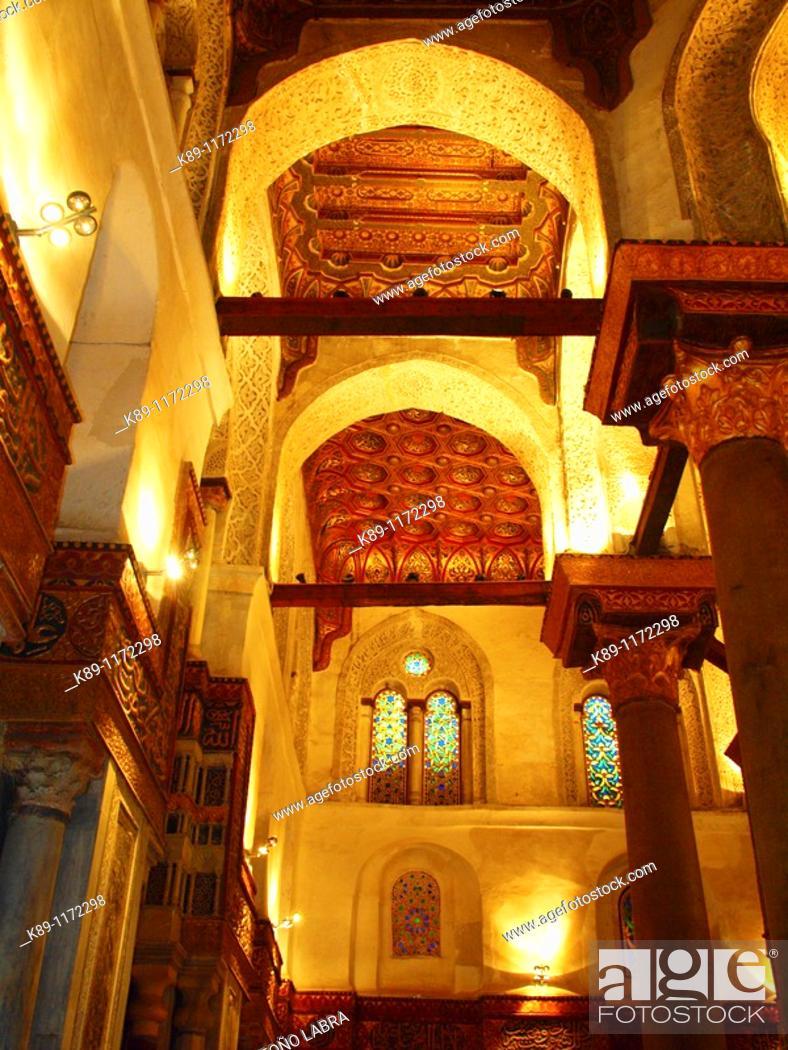 Stock Photo: Madrasa Mausoleum of Sultan Qalawun, Al Mu'izz historic street, Cairo, Egypt.