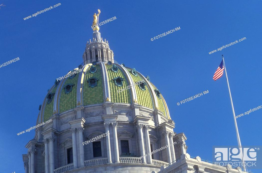 Stock Photo: Harrisburg, State Capitol, State House, PA, Pennsylvania, The dome of The Pennsylvania State Capitol Building in the capital city of Harrisburg.