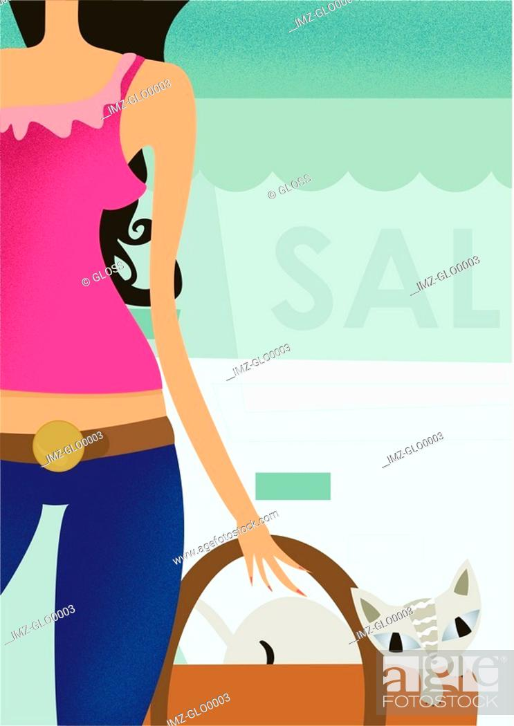 Stock Photo: A woman shopping at a summer sale.