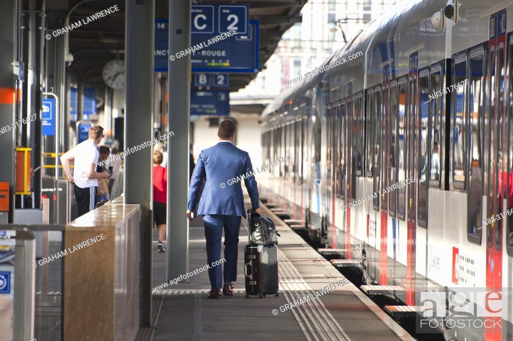 Stock Photo: Train stopped at train station, Geneva, Switzerland.