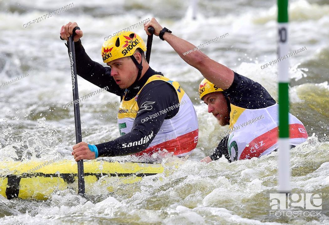 Stock Photo: Ondrej Karlovsky and Jakub Jane of Czech Republic compete during the final C2 men Water slalom World Cup event in Prague, Czech Republic, June 17, 2017.