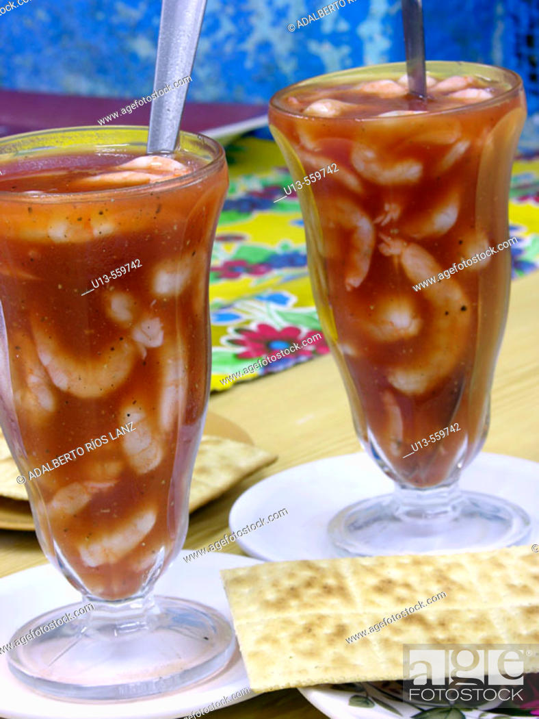 Stock Photo: Shrimp cocktail. Pedro Sainz de Baranda market. Campeche. Mexico.