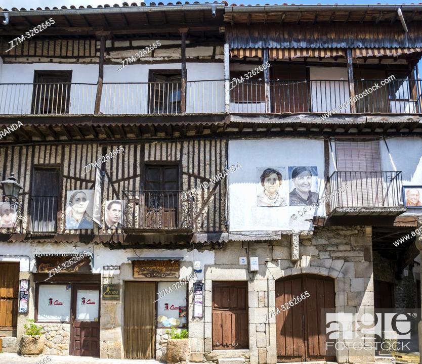 Stock Photo: Arquitectura tradiconal en Mogarraz. Sierra de Francia. Salamanca. Castilla León. España.